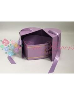 Lila Ribbon Closed Heart Box