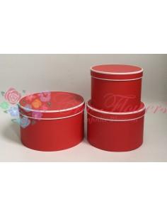 Set 3 Cutii Rotunde Rosu