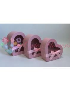 Set 3 Cutii Inima Roz