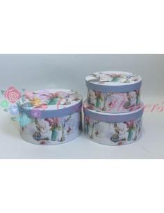 Set 3 Cutii Rotunde Vaza Flori