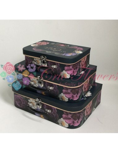 Set 3 Black Suitcase Boxes