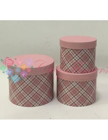Set 3 Cutii Rotunde Vintage Roz