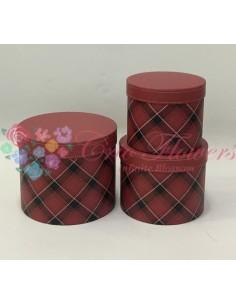 Set 3 Cutii Rotunde Vintage Rosu