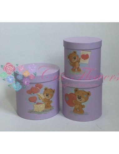 Set 3 Lila Bears Round Boxes