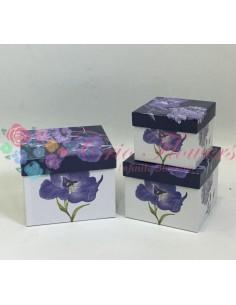 Set 3 Cutii Patrate Flori