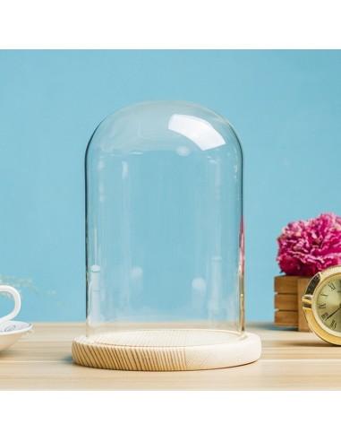 Cupola Sticla Baza Lemn Natur