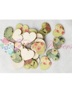 Inimi Lemn Imprimeu Floral