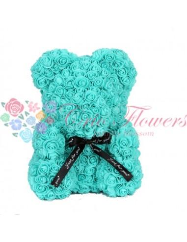 Rose Bear Turquoise 25cm